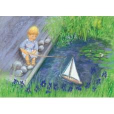 Vykort - MvZ453 - Pojke med segelbåt