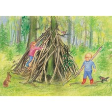 Vykort - MvZ454 - Barn bygger koja i skogen