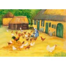 Vykort - MvZ462 - Mata kycklingarna